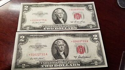 1953 & 1953 A $2 Star Red Seal Legal Tender Notes Circulated