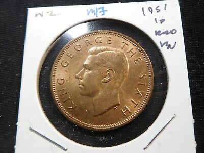 M17 New Zealand 1951 Penny BU Red