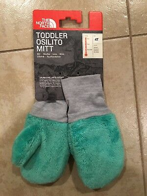 The North Face Girls Toddlers Osilito 4T Mitts Mittens New Bermuda Green Winter