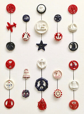 Fun goofie card for Patriots featuring red, white and blue service buttons.