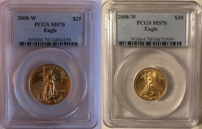 2008-W $10 $25 Gold Burnished Eagle Pcgs Ms 70 * Low Mintage * 2 Coin Set