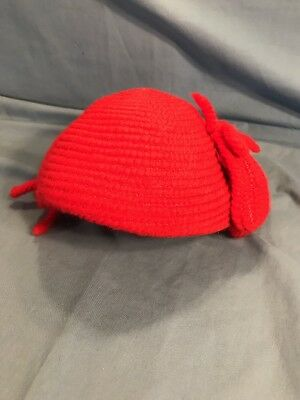 Vintage Women's Hat Jean Allen By Gage Red     Knit Skull Cap Nice.  Small Size