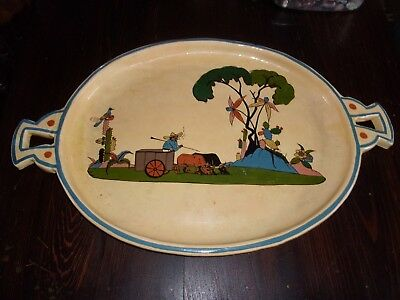 "Large Handled Mexican Pottery Platter 23""x 14""x 1.5"" Great Domestic Scene"