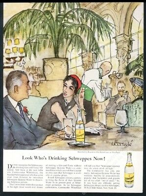 1953 The Plaza Hotel Palm Court Rene Bouche art Schweppes vintage print ad