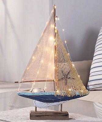 Lighted SailboatWOODEN LIGHTED SAILBOAT NAUTICAL COASTAL HOME DECOR ACENT.  NEW!