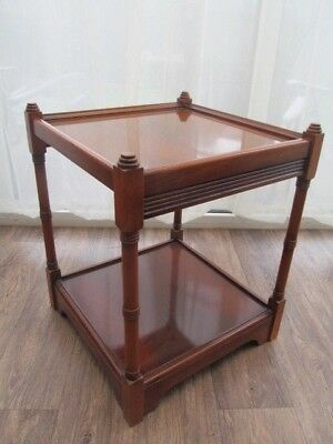 2 Tier Side Lamp  Shelf Yew effect  H 54cm x 44 Reproduction  Antique Furniture