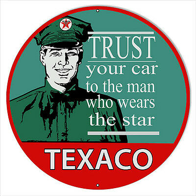 Large Trust Your Car To Texaco Star Motor Oil Sign 18 Round
