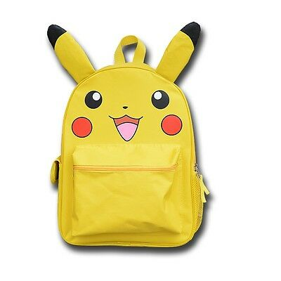 "Pokemon Pikachu School Backpack 16"" Large Bag with Ear"