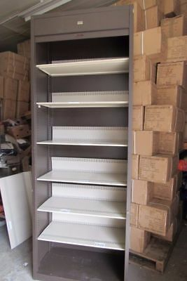 Large Roller Shutte Storage Cabinet 6 Shelves Ideal For Home Office Garage Work