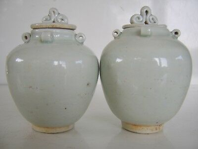 Old Near Pair  Antique Chinese Vase Lidded Pot Jar Part Song Dynasty Collection