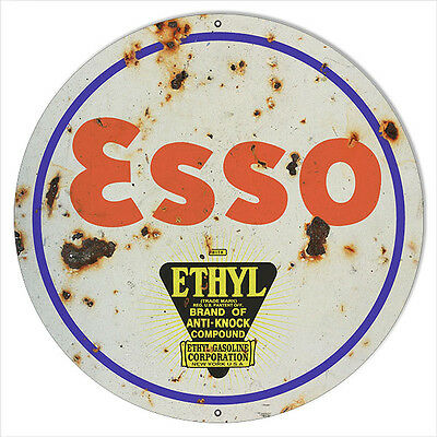 Large Aged Looking ESSO Ethyl Motor Oil Sign 18 Round