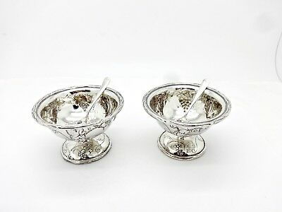Pair Antique Shreve & Co. Grapevine Sterling Silver Salt Cellars W/spoons