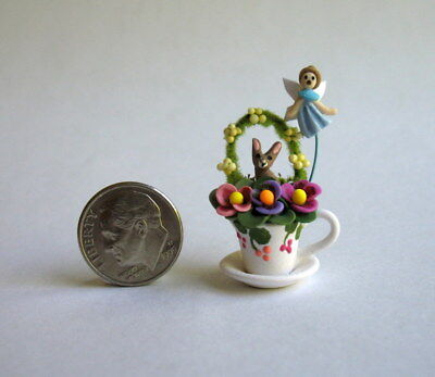 Handmade Miniature TEACUP FAIRY GARDEN WITH BUNNY, ARCH & FAIRY - OOAK C. Rohal