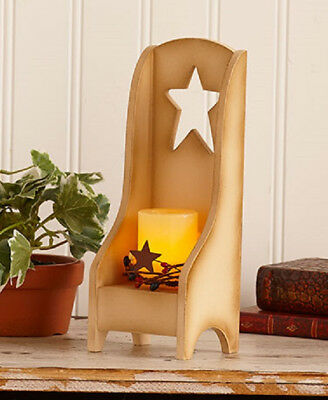 Wooden white chair with LED votive ~ Very rustic and country! ~ HUGE SALE!