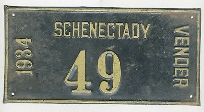1934 Schenectady NY Vendor License Plate ,Number 49