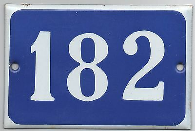 Old blue French house number 182 door gate plate plaque enamel steel metal sign