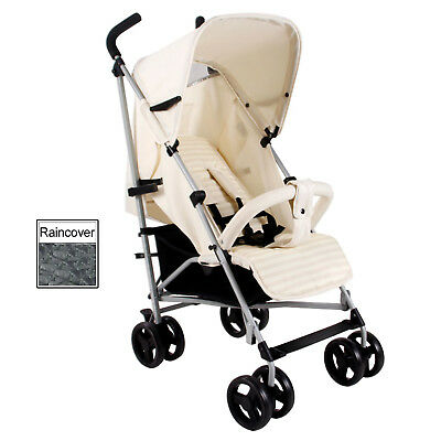 New My Babiie Cream Mb01 Pushchair Compact Stroller With Raincover