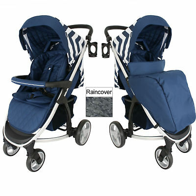 New My Babiie Blue Chevron Mb200 Pushchair Compact Stroller With Raincover