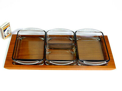 Holmegaard Denmark Teak & Glass Serving Tray 5 Parts Danish Modern Digsmed Era