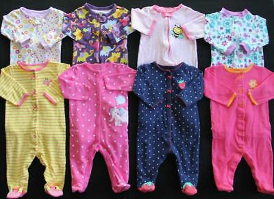 Baby Girl 6/9 9 Months Cotton footed Sleepers Pajama Clothes Lot