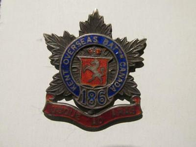 186th Kent Overseas Batt'n Canada WWI/CEF Sterling & Enamel Brooch Badge