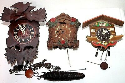 Antique / Vintage Lot Of 3 Lux, Keebler, Cuckoo Pendulette Wall Clocks For Parts