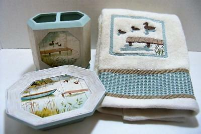 Lake Bath Accesory Set w hand towel soap dish & toothbrush / paste holder