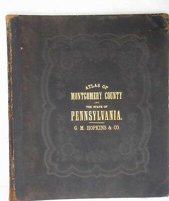 1800s antique HOPKINS ATLAS hc w/10 MAPS of PENNSYLVANIA and COUNTIES partial
