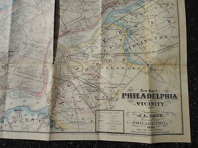 1891 antique Smith's Map of Philadelphia and Vicinity -Folding/Linen Backed