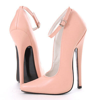 RTBU NORMA 18cm Stiletto Sharp toe Mary Janes Heel Ankle Strap Piggy Pink