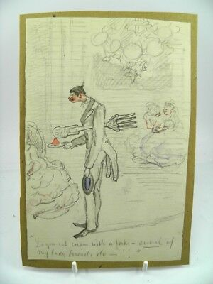 Antique late 19th century English School watercolour painting cartoon portrait