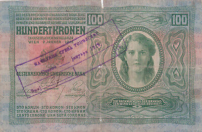 100 Korona/kronen Vg Note1919 With A Military Stamp From Shs Kingdom!