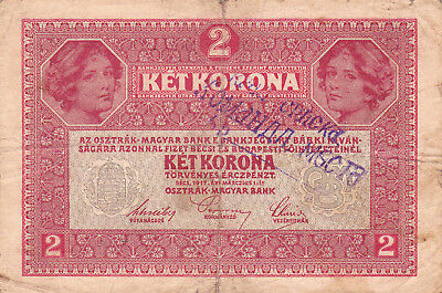 2 Korona/kronen Fine Note1919 With A Military Stamp From Shs Kingdom!