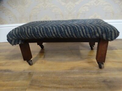 Solid Vintage / antique Carpet topped footstool on caster feet