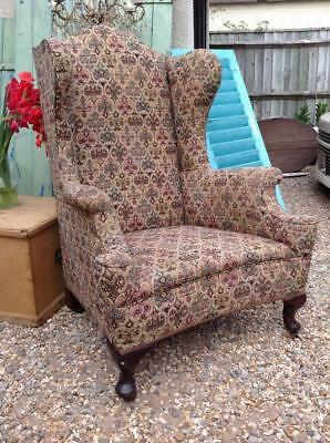 Antique Wing Back Armchair Very Grand Victorian Fireside Chair Rustic Chic Decor