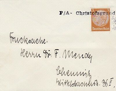 Good Germany 1938 Third Reich  Cover With Rare P/a Christofsgrund Cancel 43*3
