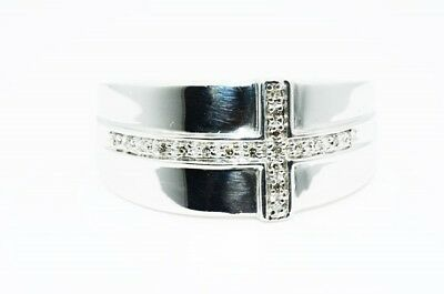 .10Ct Mens Natural Round Cut White Diamond Silver Cross Ring Size 10.25