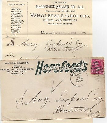1896 Monroe Louisiana Bread & Baking Powder Ad Cover & Letterhead- Fruit, Butter