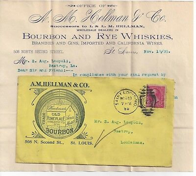 1895 St. Louis Missouri Advertising Cover Sour Mash Bourbon, Rye Whisky, Brandy