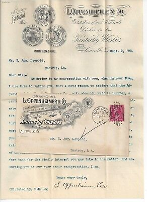 1895 Louisville Kentucky Advertising Cover & Letterhead Fine Whiskey Distillers