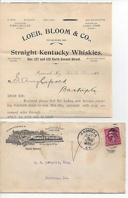 1895 Paducah Kentucky Advertising Cover & Letterhead Straight Whiskey Distillery