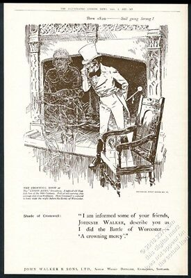 1922 Johnnie Walker Scotch Whisky Oliver Cromwell ghost UK vintage print ad