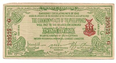 World War Two 1942 Philippines Negros Occidential Currency 20 centavos S644