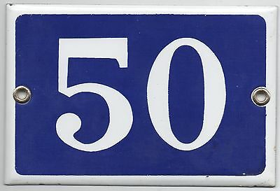 Old blue French house number 50 door gate plate plaque enamel steel metal sign