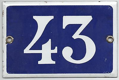 Old blue French house number 43 door gate plate plaque enamel steel metal sign