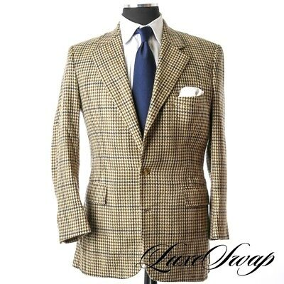Vintage Bespoke Morty Sills NY Cashmere Feel WILD Tan Green Multi Plaid Jacket