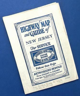 1920s NEW JERSEY highway MAP & GUIDE by Authorized/Mid-State Map Co.