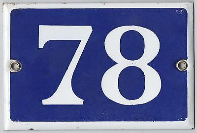 Old blue French house number 78 door gate plate plaque enamel steel metal sign