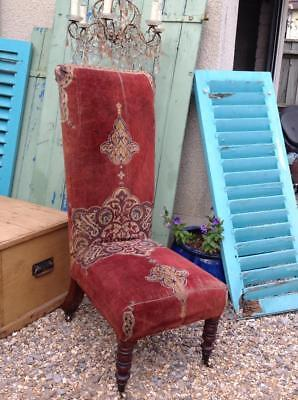 Antique Victorian Prie Dieu Chair With Worn Tapestry Velvet Material Rustic Chic