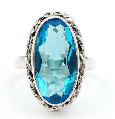 8CT Flawless Blue Topaz 925 Solid Sterling Silver Ring Jewelry Sz 7
